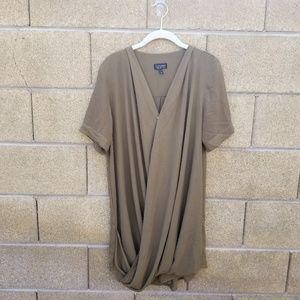 TopShop Green Draped Short Sleeve Dress